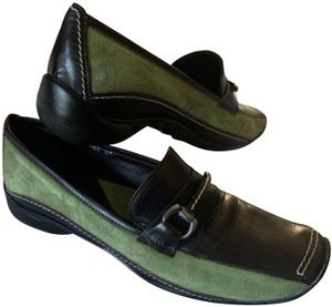 Sesto Meucci Driving Moccasin Leather Size 6.5 Green and black Flats