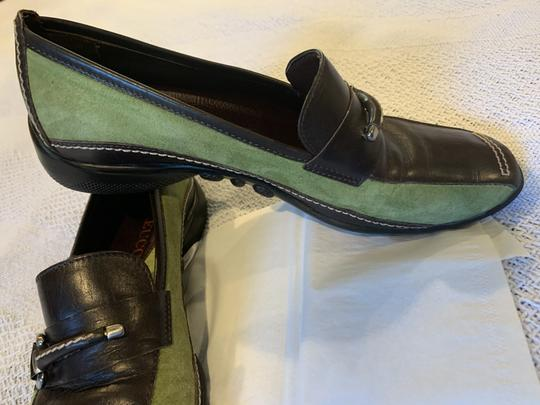 Sesto Meucci Driving Moccasin Leather Size 6.5 Green and black Flats Image 1
