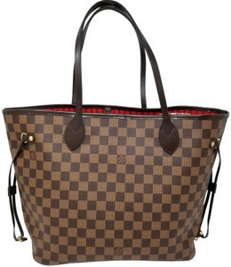 Louis Vuitton Lv Shoulder Neverful Damier Ebene Tote in Brown,Red