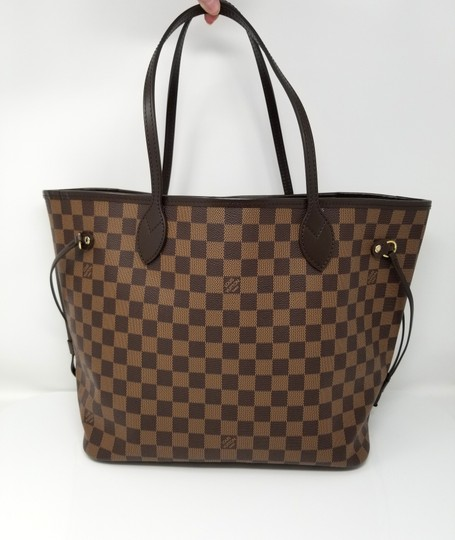 Louis Vuitton Lv Shoulder Neverful Damier Ebene Tote in Brown,Red Image 1