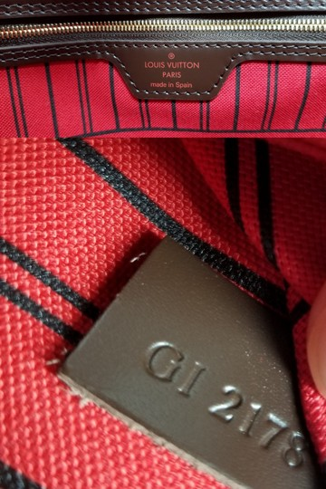 Louis Vuitton Lv Shoulder Neverful Damier Ebene Tote in Brown,Red Image 10