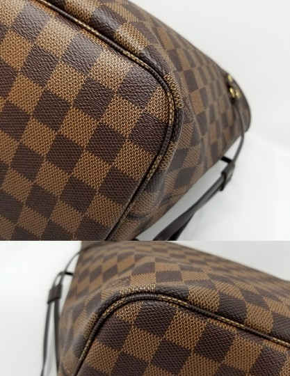 Louis Vuitton Lv Shoulder Neverful Damier Ebene Tote in Brown,Red Image 11