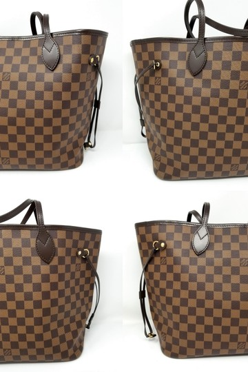 Louis Vuitton Lv Shoulder Neverful Damier Ebene Tote in Brown,Red Image 3