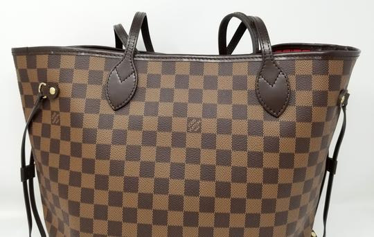Louis Vuitton Lv Shoulder Neverful Damier Ebene Tote in Brown,Red Image 8