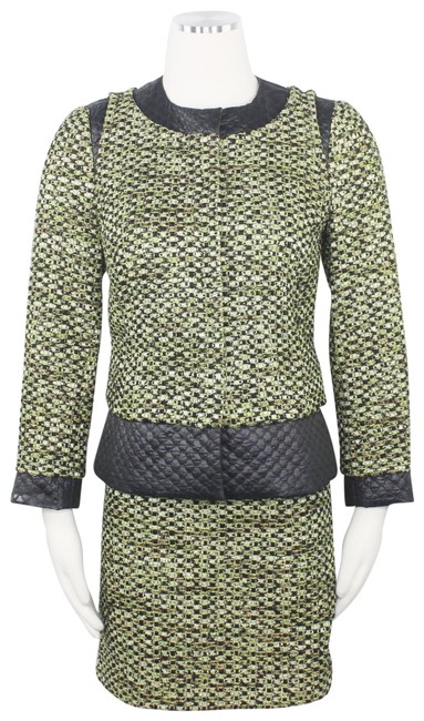 Item - Green Black Collarless Tweed Quilted Contrast Accents Snap Button Skirt Suit Size 2 (XS)