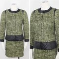Carlisle Green Black Collarless Tweed Quilted Contrast Accents Snap Button Skirt Suit Size 2 (XS) Carlisle Green Black Collarless Tweed Quilted Contrast Accents Snap Button Skirt Suit Size 2 (XS) Image 2