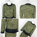 Carlisle Green Black Collarless Tweed Quilted Contrast Accents Snap Button Skirt Suit Size 2 (XS) Carlisle Green Black Collarless Tweed Quilted Contrast Accents Snap Button Skirt Suit Size 2 (XS) Image 9