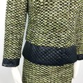 Carlisle Green Black Collarless Tweed Quilted Contrast Accents Snap Button Skirt Suit Size 2 (XS) Carlisle Green Black Collarless Tweed Quilted Contrast Accents Snap Button Skirt Suit Size 2 (XS) Image 10
