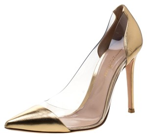 Gianvito Rossi Leather Pvc Gold Pumps