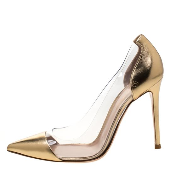 Gianvito Rossi Leather Pvc Gold Pumps Image 3