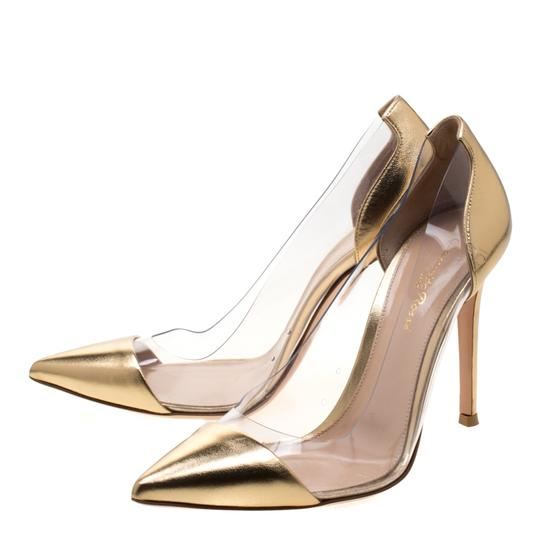 Gianvito Rossi Leather Pvc Gold Pumps Image 4