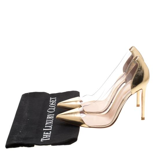 Gianvito Rossi Leather Pvc Gold Pumps Image 7