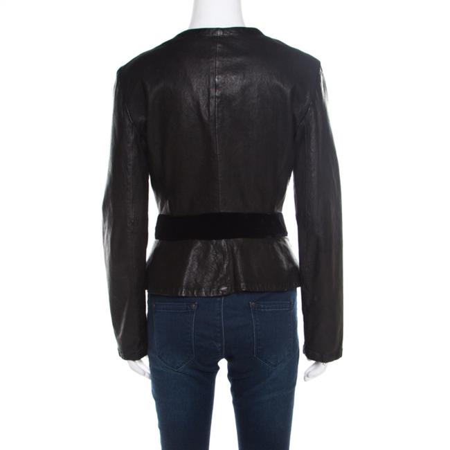 Emporio Armani Leather Velvet Detail Black Womens Jean Jacket Image 1
