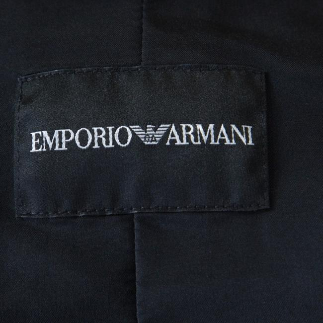 Emporio Armani Leather Velvet Detail Black Womens Jean Jacket Image 4