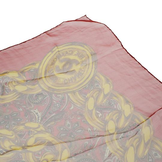 Chanel CHANEL Logos Long Muffler Scarf 100% Silk Red Italy Accessory Image 1