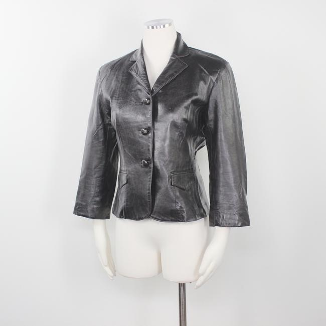 Other Made In Usa Leather Jacket 3/4 Sleeves Brown Blazer Image 4