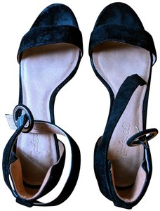 Madewell Suede Ankle Strap Black Sandals