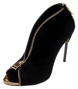 Tom Ford Suede Open Toe Ankle Leather Black Boots