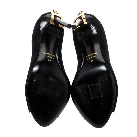 Tom Ford Suede Open Toe Ankle Leather Black Boots Image 5