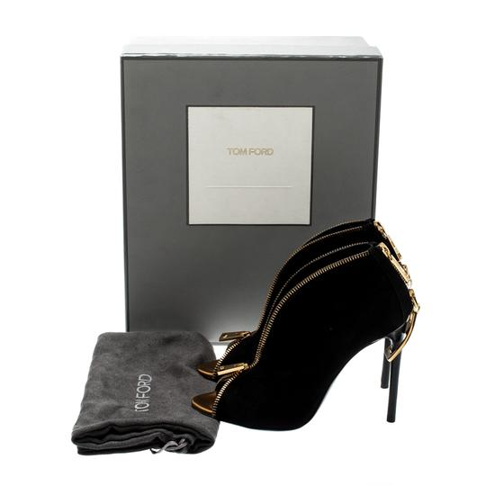 Tom Ford Suede Open Toe Ankle Leather Black Boots Image 7