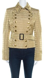 Burberry Metallic Gold Textured Cut Out Edge Detail Double Breasted Jacket M