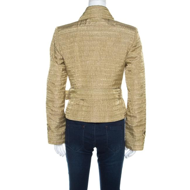 Burberry Metallic Gold Textured Cut Out Edge Detail Double Breasted Jacket M Image 1
