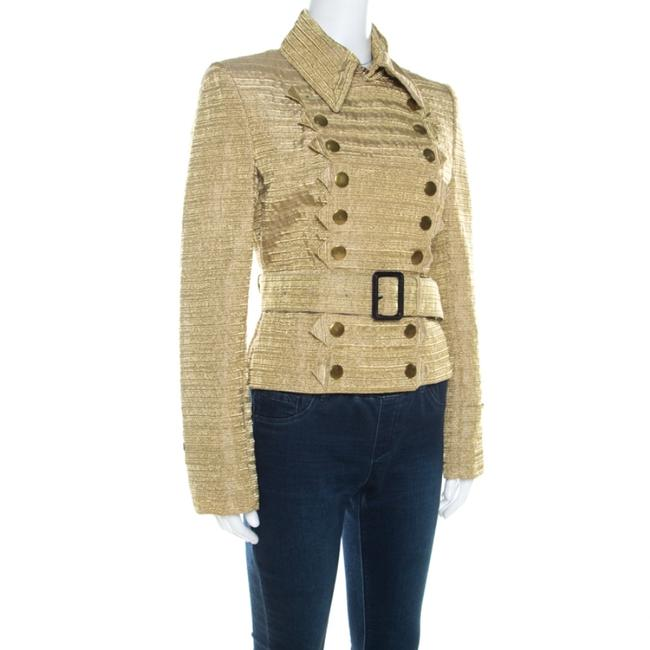 Burberry Metallic Gold Textured Cut Out Edge Detail Double Breasted Jacket M Image 2