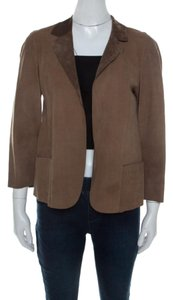 Marni Leather Open Front Brown Blazer