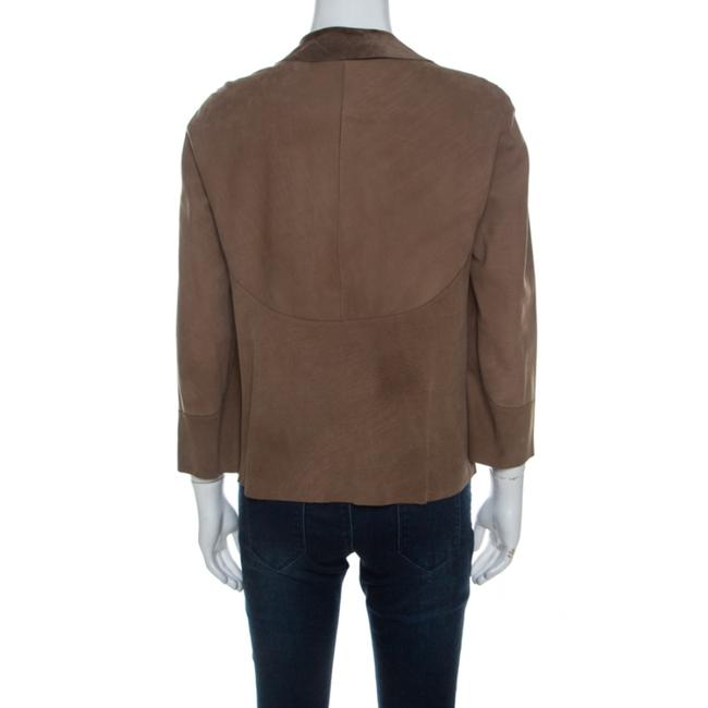 Marni Leather Open Front Brown Blazer Image 1