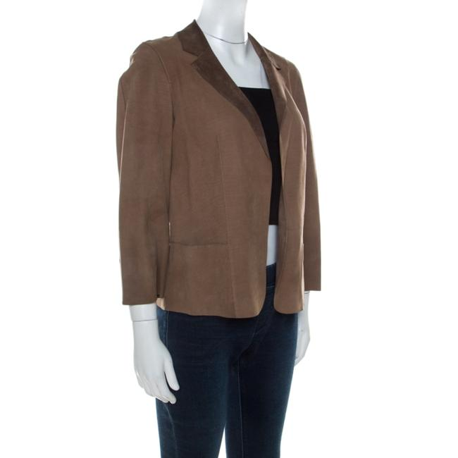 Marni Leather Open Front Brown Blazer Image 2