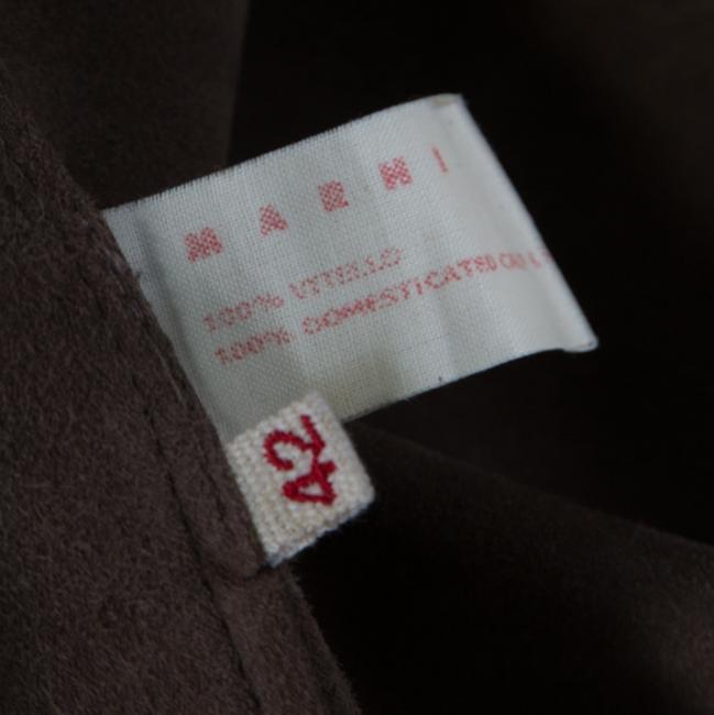 Marni Leather Open Front Brown Blazer Image 3