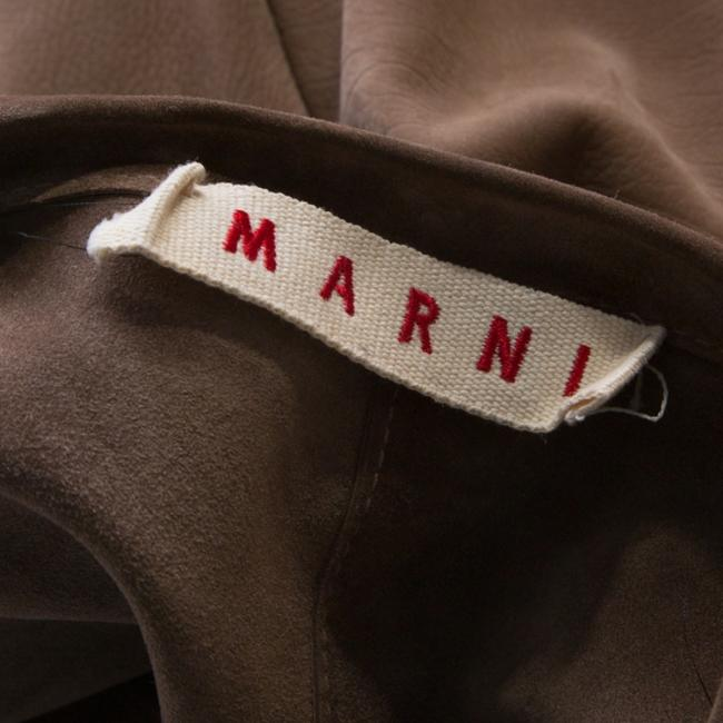 Marni Leather Open Front Brown Blazer Image 5
