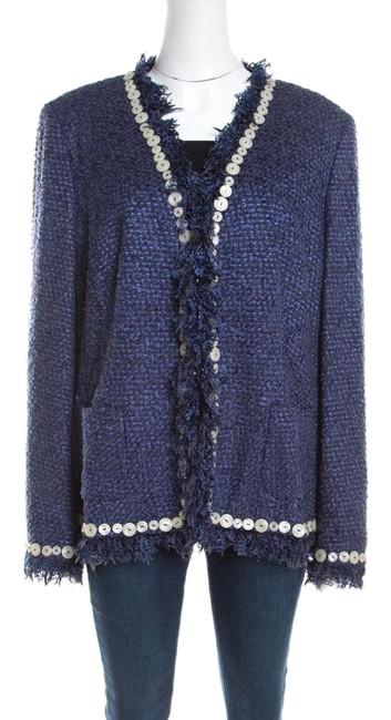 Preload https://img-static.tradesy.com/item/26162080/escada-blue-xl-textured-fringed-edge-button-embellished-boucle-activewear-outerwear-size-16-xl-plus-0-1-650-650.jpg