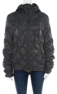 Emporio Armani Diamond Quilted Contrast Hooded Green Womens Jean Jacket