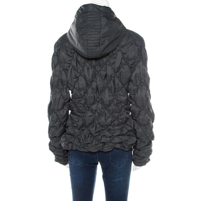 Emporio Armani Diamond Quilted Contrast Hooded Green Womens Jean Jacket Image 1