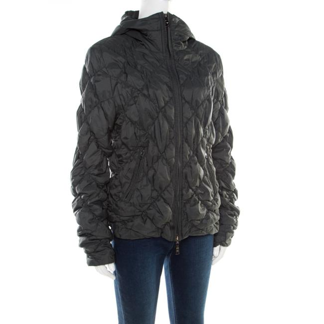 Emporio Armani Diamond Quilted Contrast Hooded Green Womens Jean Jacket Image 2