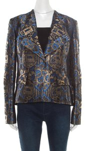 Etro Gold Embroidered Jacquard Womens Jean Jacket