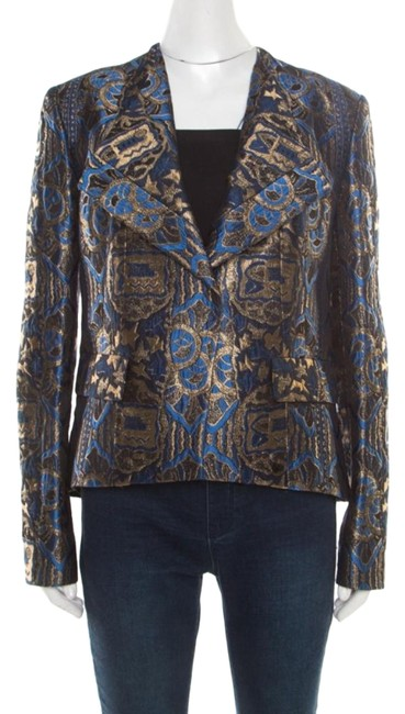 Etro Gold Embroidered Jacquard Womens Jean Jacket Image 0