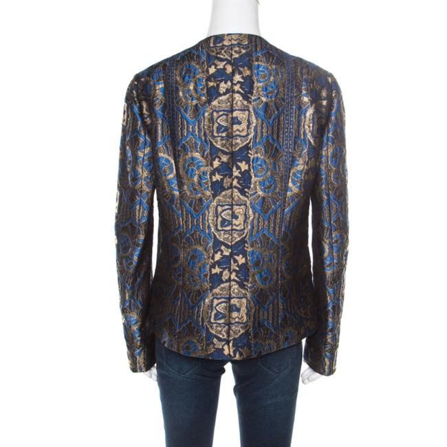 Etro Gold Embroidered Jacquard Womens Jean Jacket Image 1
