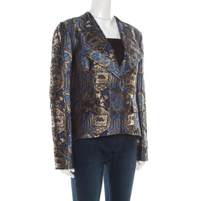 Etro Gold Embroidered Jacquard Womens Jean Jacket Image 2