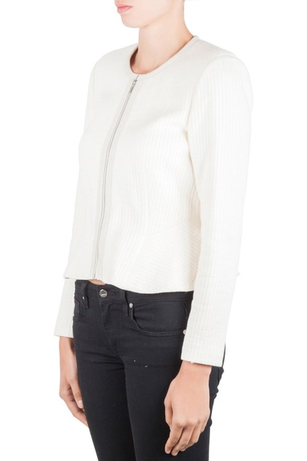 Rebecca Taylor Chalk White Double Face Cotton Jersey Zip Front Jacket M Image 3