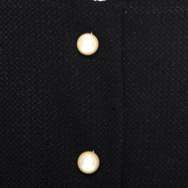 Chanel Textured Knit Leather Logo Pearl Black Womens Jean Jacket Image 3