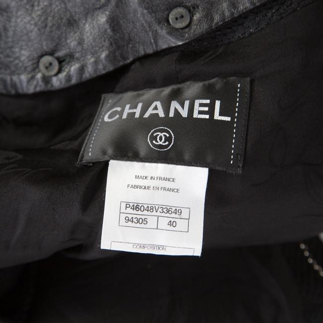 Chanel Textured Knit Leather Logo Pearl Black Womens Jean Jacket Image 4