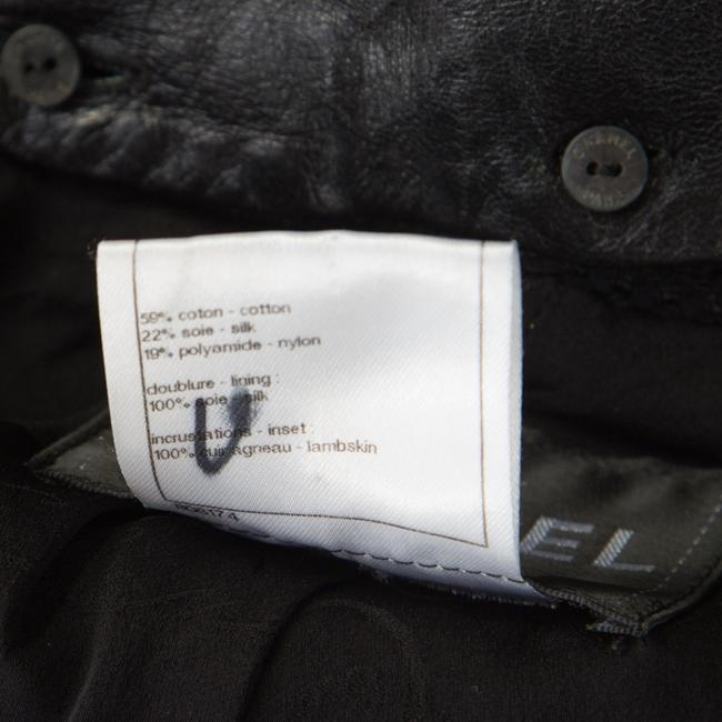 Chanel Textured Knit Leather Logo Pearl Black Womens Jean Jacket Image 5