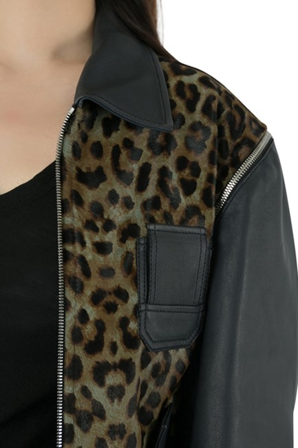 Faith Connexion Polyester Detail Brown Leather Jacket Image 6
