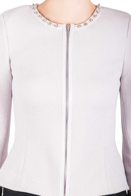 Rebecca Taylor Rebecca Taylor Pink Pearl Dotted Jacquard Knit Fitted Jacket S Image 1
