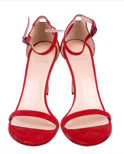 Stuart Weitzman Suede Ankle Strap Strappy Red Formal Image 2
