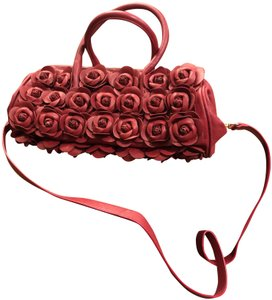 Clever Carriage Company Leather Brand Leather Roses Satchel in Red