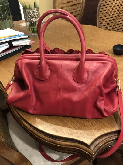 Clever Carriage Company Leather Brand Leather Roses Satchel in Red Image 2
