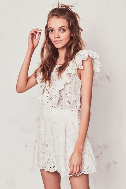 LoveShackFancy short dress Ivory Zara Mini Eyelet Ruffle on Tradesy Image 3